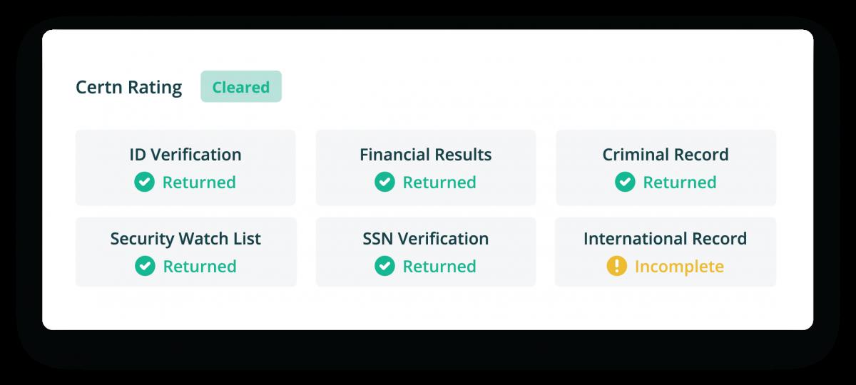 Certn Credit check sample snippet