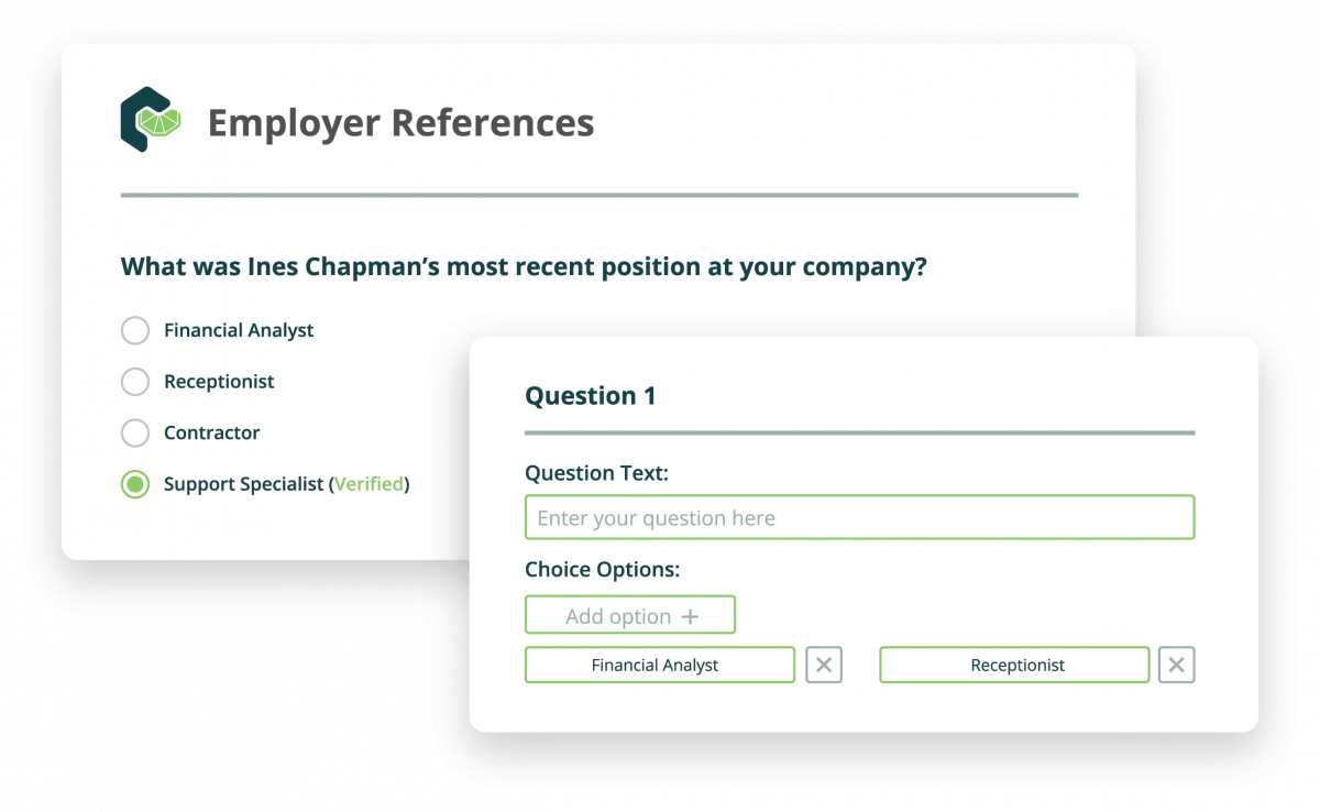 Certn Reference Check customization options example