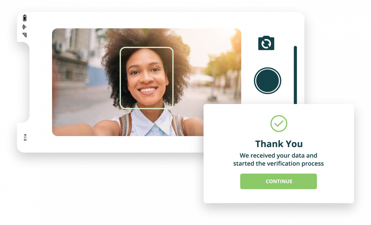 ID verification is completed by taking selfie